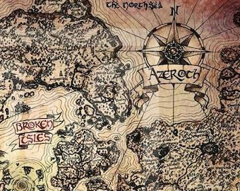 "11"" x 17"" Vintage Azeroth World Map Print"