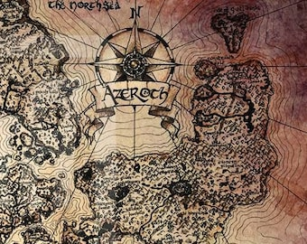 "24"" x 36"" Vintage Azeroth World Map Print"