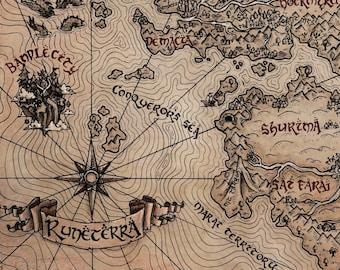 "11"" x 17"" Vintage LoL Runeterra World Map Print"