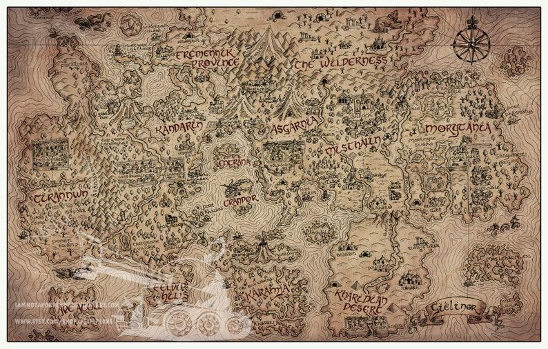 Vintage RuneScape World Map Print 11\