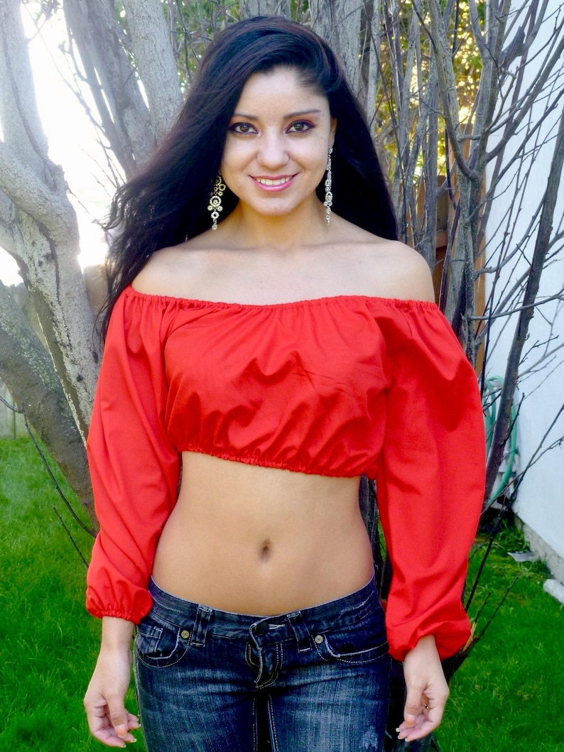 71601c26610f5 Bella Rossa Red Long Sleeve Peasant Crop Top Crop Tops for
