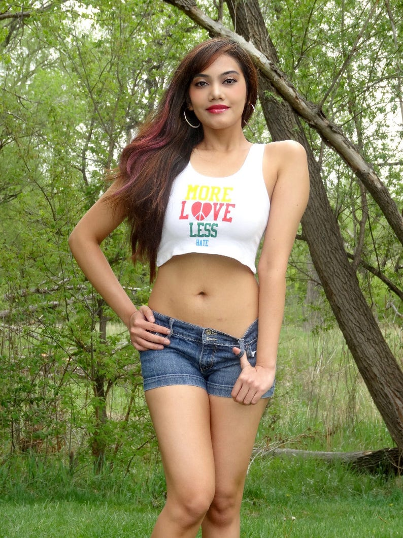 Crop Tops For Women Love Is Love Crop Tops Teens Equality Protest LGBTQ LGBT More Love Less Hate White Crop Top Cropped Top Woman