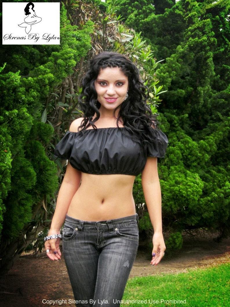 05fc1f7321c5ca Bella Nera Black Short Sleeve Peasant Crop Top Crop Tops for