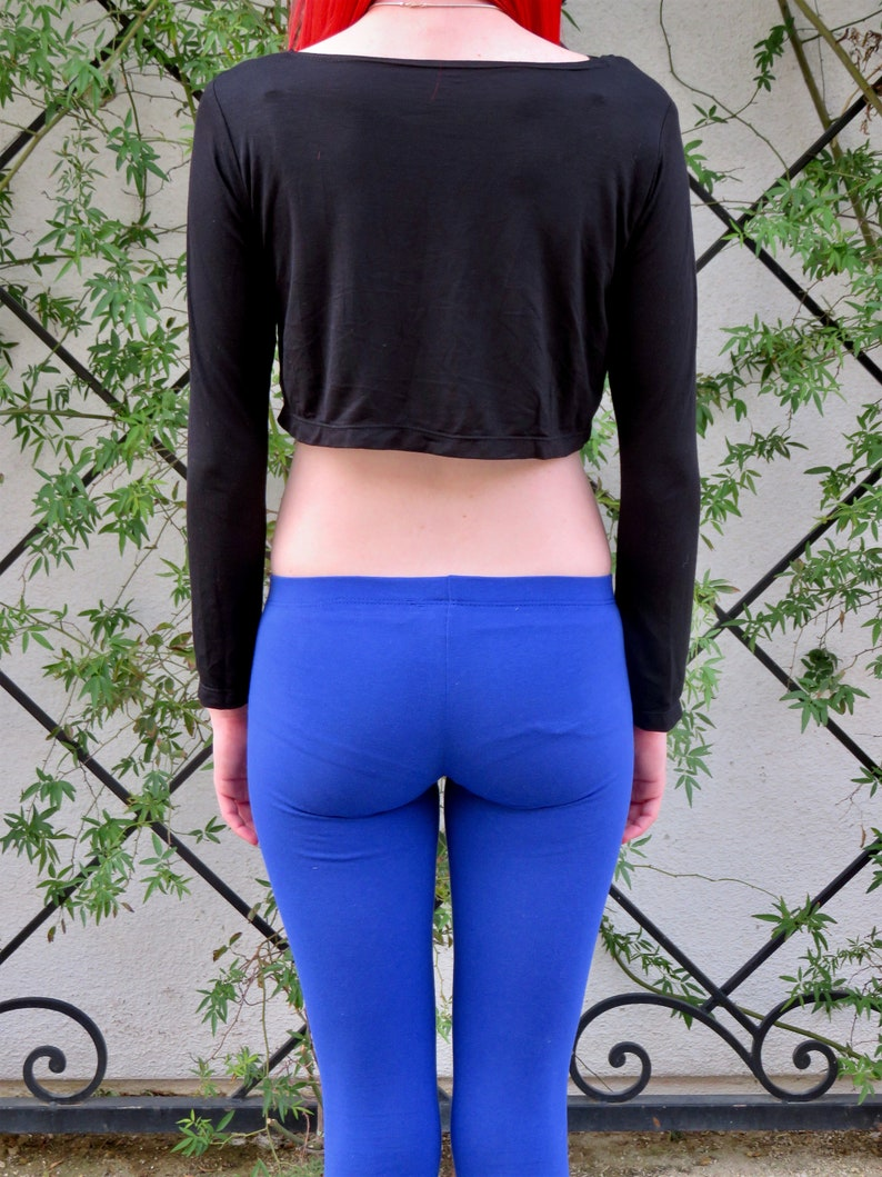 Black Long Sleeve Crop Top Cropped Top Crop Tee Crop Tshirt Boxy Crop Top Crop Tops For Women Cropped Top Woman Loose Crop Top