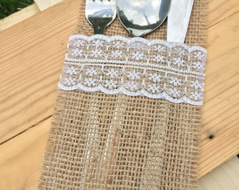 Set of 50 Burlap silverware holder, poses pocket, jute cutlery, table stand, jute pocket, rustic decor, linen canvas holder
