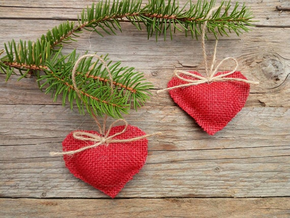 Christmas Tree Ornaments Decorations Heart Ornaments Red Etsy