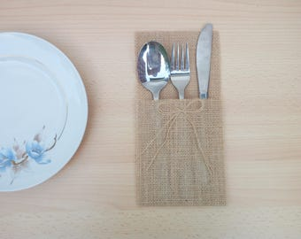Fitted linen stand, cutlery pocket, handmade storage case, hand made faux pouch with beige jute, rustic furnishings