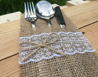 Burlap silverware holder, poses pocket, jute cutlery, table stand, jute pocket, rustic decor, linen canvas holder