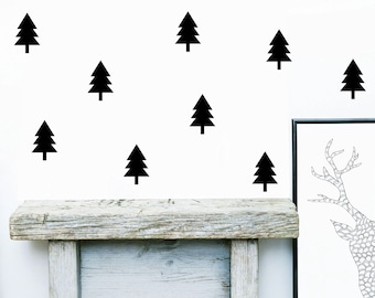 Pine Tree Decal - Small Pine Tree Decals - Tree Wall Pattern - Forest Wall decal - Woodland Decals - Nature Decal - Nursery Wall Decals