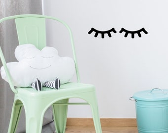 Sleepy eyes decal - Eyes Wall Decal - Kids Wall Decal - Closed Eyes Decal - Eyelashes - Closed Eyes - Nursery Decal - Sleepy Eyes Decal