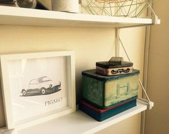 Letterpress framed print - tribute to Nissan Figaro size 23 x 23
