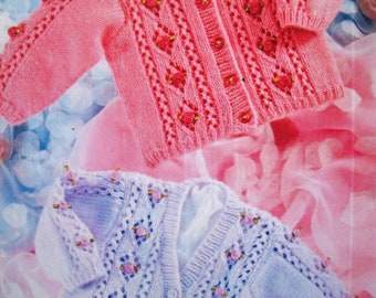 PDF Baby Girls Cable Peplum Cardigan diamond eyelet Trousers Knitting Pattern DK 16-22 inch 0-2 years Downloadable PeterPan P813