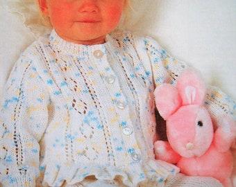 "Baby Girls Peplum frill Bottom Cardigan Sweater KNITTING PATTERN 4 ply 16-22/"""