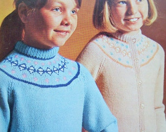 "Baby Girls Ladybird Yolk Cardigan KNITTING PATTERN 20-23/"" Fair Isle Intarsia"