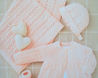 PDF baby Girls Layette Matinee Cardigan Bonnet Mittens Booties Shawl Knitting Pattern Snuggly 4 ply 12-18in Premature 6mths 1662