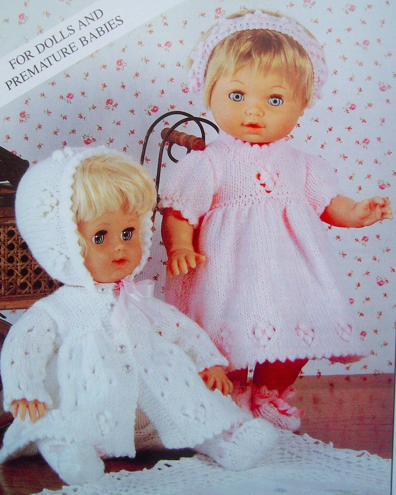 PDF Baby Dolls Clothes Dress Coat Cardigan Bonnet Shoes Knitting Pattern DK Premature Reborn height 12-22 inch headband Download 7139