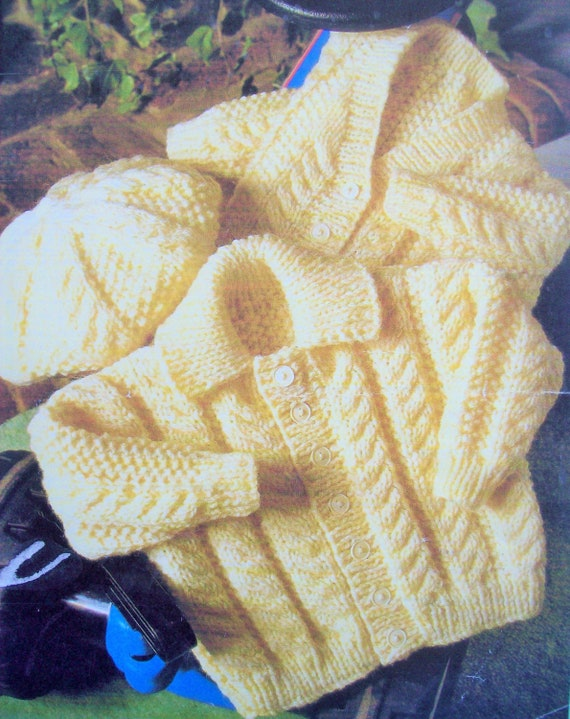 Baby boys CABLE JACKET HAT KNITTING PATTERN Aran 0-2 yrs 16-22 inch CARDIGAN