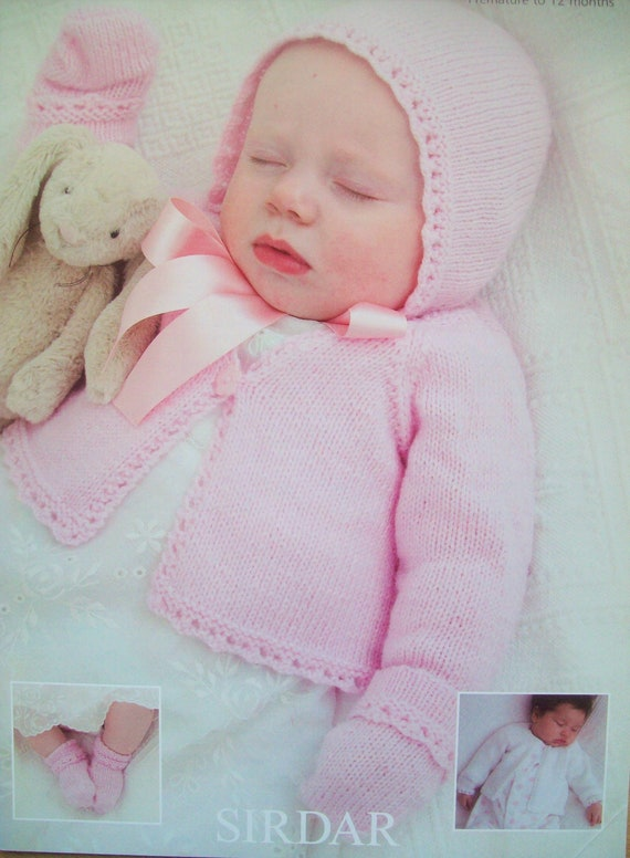 Baby Girls MATINEE COAT CARDIGAN Bonnet KNITTING PATTERN DK 16-20 in 0-12 m