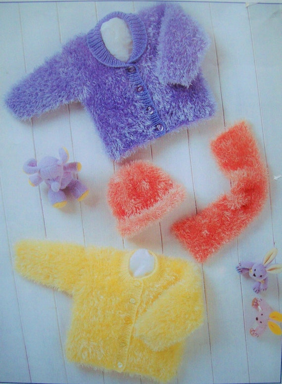 PDF Baby girls Fluffy Jacket Cardigan Hat Scarf Knitting Pattern Eskimo DK 12-22 inch Premature 2 years Reborn Downloadable 4858