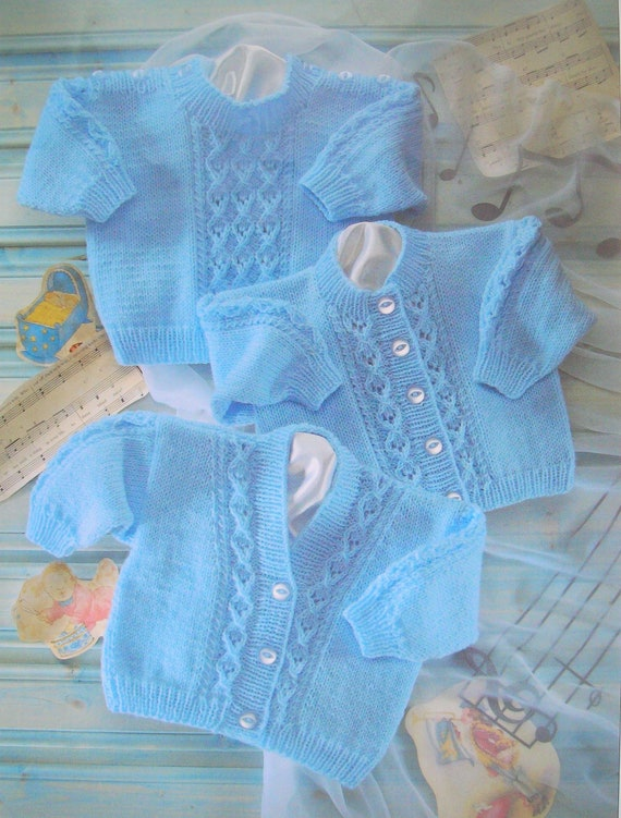 Baby Girls Boys cable CARDIGAN KNITTING PATTERN Snuggly Chunky 18-28in  3889
