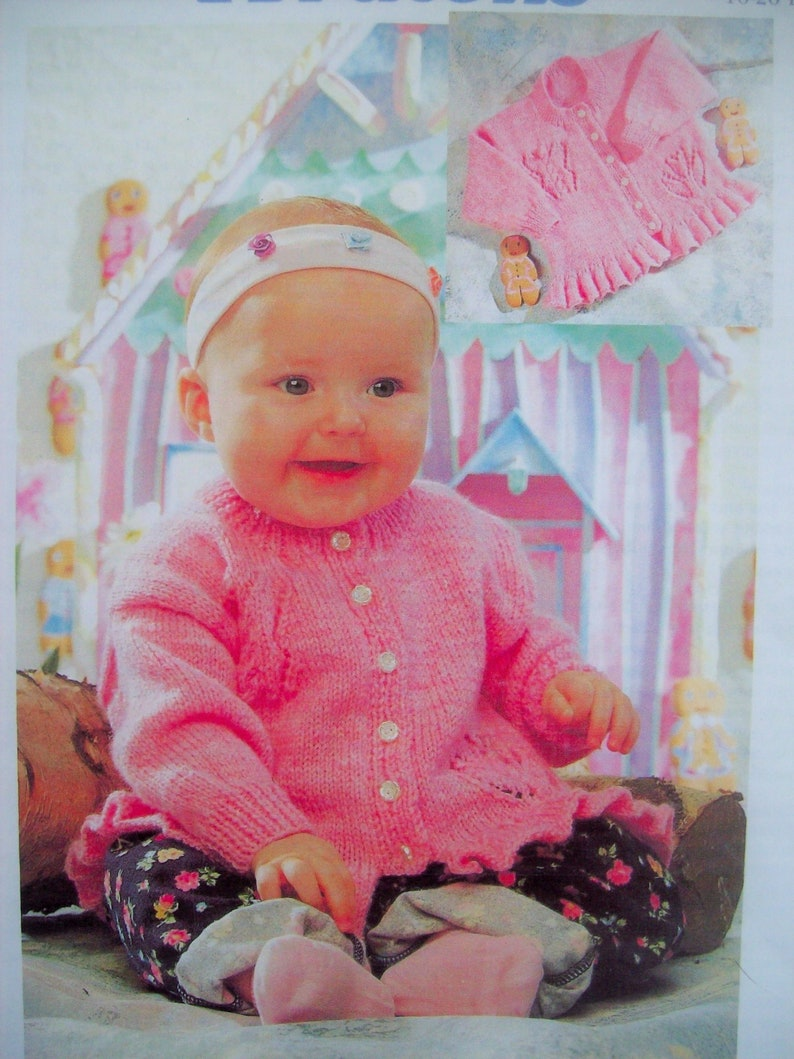 PDF Download Baby Girls Peplum Frill Cardigan Knitting Pattern DK 16-26 inch 0-7 years 5148