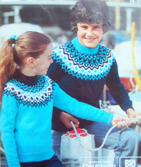 No.1125 Child/'s 3-Color Fair Isle Sweater Knitting Pattern PDF 12 Girl/'s /& Boy/'s 1970/'s Vintage Pullover Sweater Kids 6 14 Years 10 8
