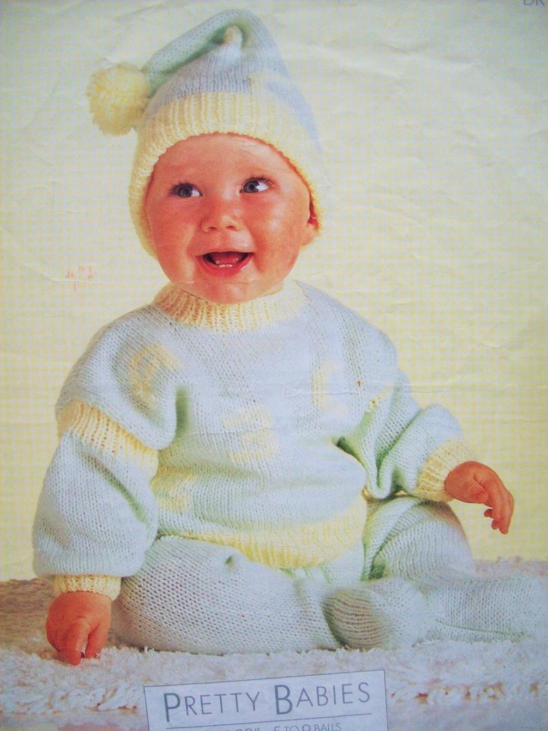 PDF Baby Boys Girls Tracksuit Jumper Sweater Leggings Pom Pom Hat Knitting Pattern DK 16-22in 0-2 years Downloadable Vintage 2853