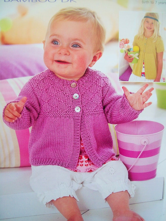 PDF Baby Girls Swing Cardigan Long or short sleeves Knitting Pattern Snuggly Bamboo DK 16 - 26in 0 - 7 years Downloadable