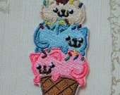 Embroiderd iron on patch: Kitten Cone, assorted flavors.