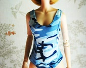 Smart Doll sukumizu for S bust in blue camo print.