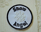 Embroidered weather merit iron on patch: Snow Angel
