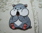 Tam the Tiny Hamster Seed eating embroidered iron on patch.