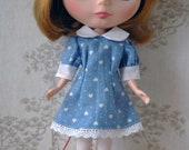 Blythe puffed sleeved blue dress.
