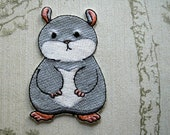 Tam the Tiny Hamster Grumpy face embroidered iron on patch.