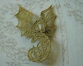 Metallic gold lacework Dragon hairgrip