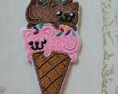 Embroidered Iron on patch: Kitten Cone, neapolitan flavour.