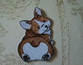 Sketch Corgi embroiderd patch.