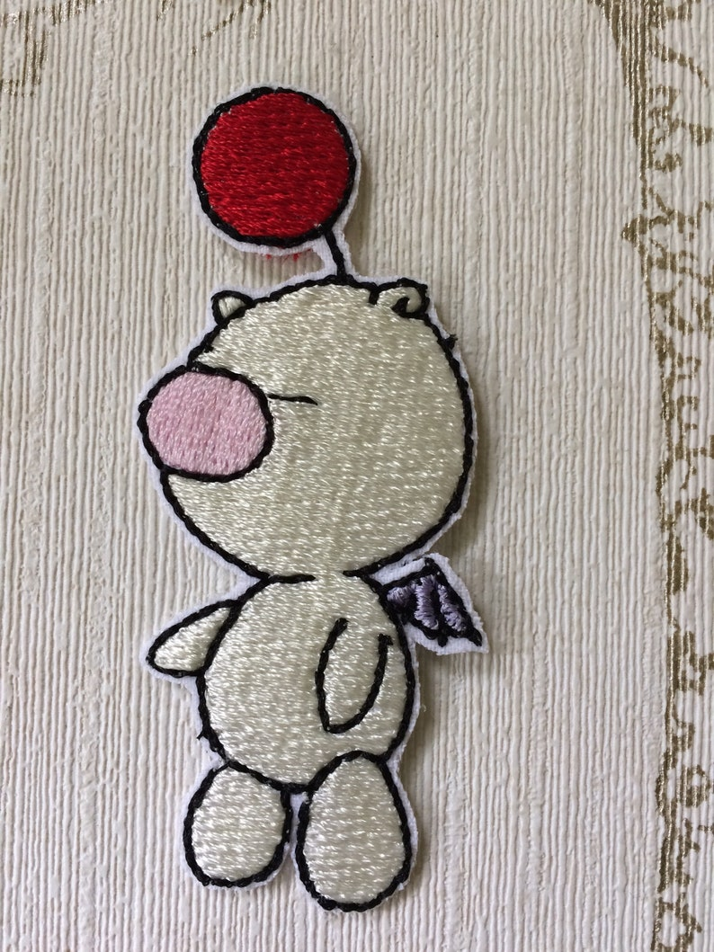 Kingdom Hearts Moogle embroidered iron on patch. image 0