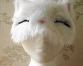 Sleepy kitty white fur sleep mask