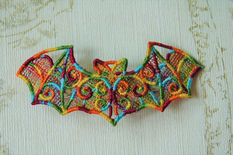 Rainbow Pride Bat lacework hair grip. image 0