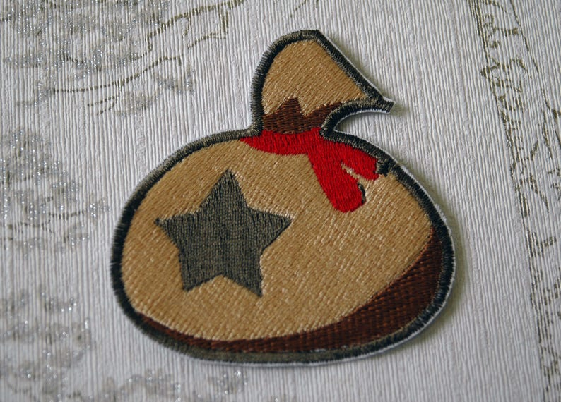 Animal crossing bell bag embroidered iron on patch. image 0