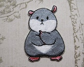 Tam the Tiny Hamster Thinking Face embroidered iron on patch.