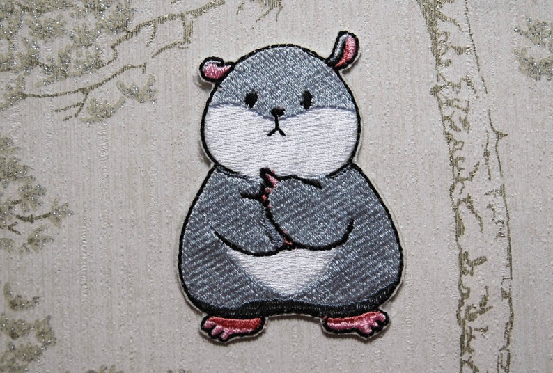 Tam the Tiny Hamster Thinking Face embroidered iron on patch. image 0