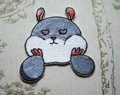 Tam the Tiny Hamster Heart Eyes embroidered iron on patch.