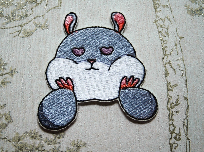 Tam the Tiny Hamster Heart Eyes embroidered iron on patch. image 0