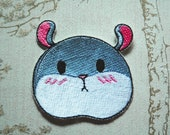 Tam the Tiny Hamster, blushing face, mascot embroidered iron on patch.