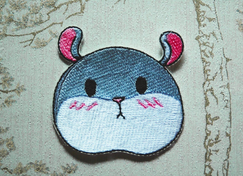 Tam the Tiny Hamster blushing face mascot embroidered iron image 0
