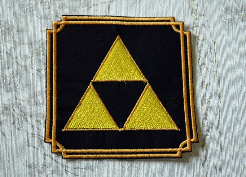 The  Legend of Zelda Triforce embroidered iron on patch. image 0