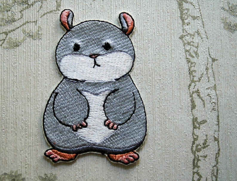 Tam the Tiny Hamster Grumpy face embroidered iron on patch. image 0
