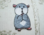 Tam the Tiny Hamster Shocked face embroidered iron on patch.